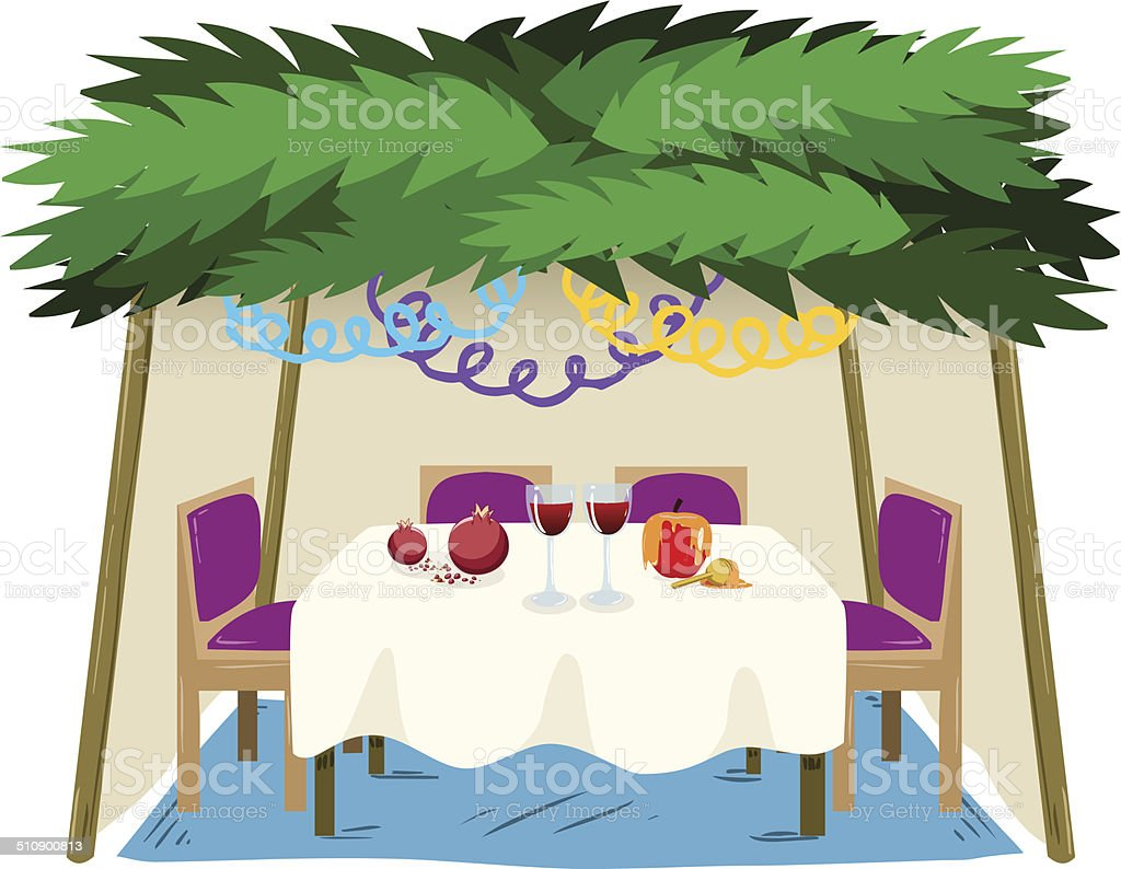 Sukkah For Sukkot With Food On Table vector art illustration