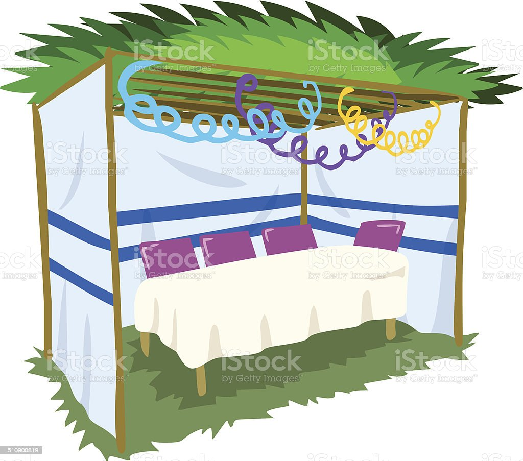 Sukkah For Sukkot With Table 2 vector art illustration