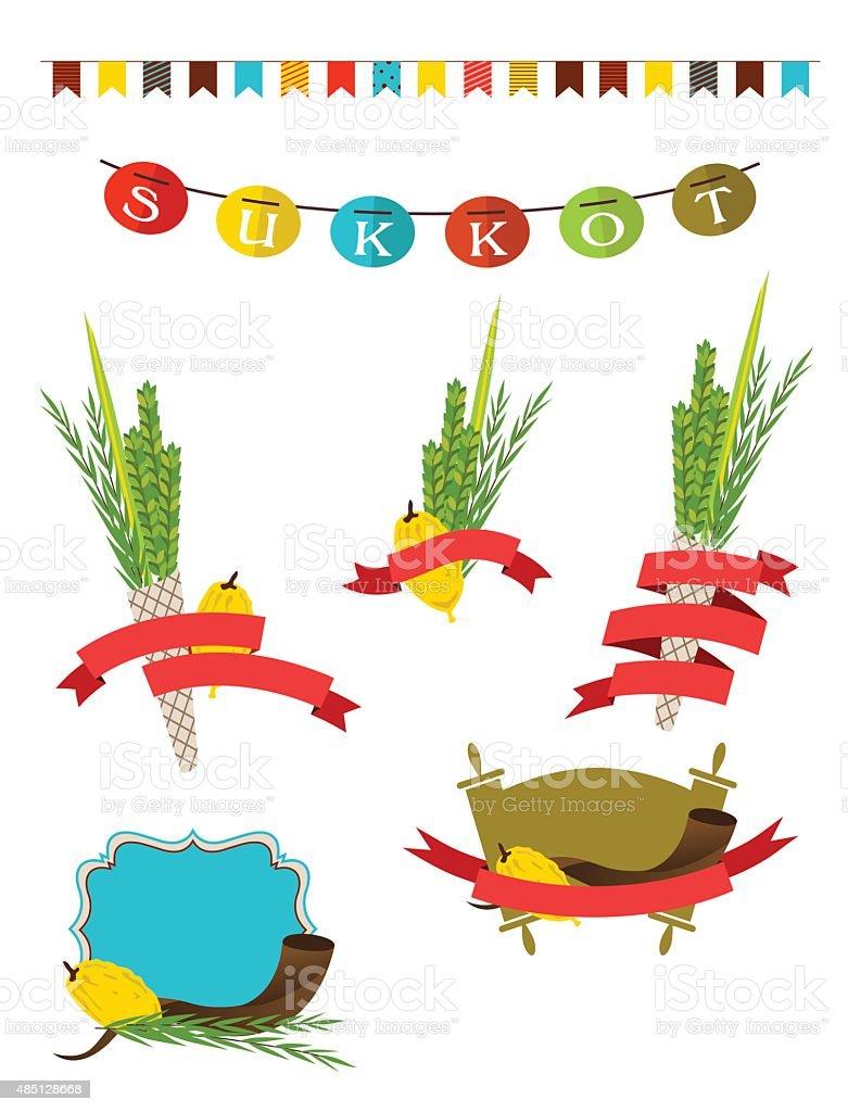 sukkot collection -  four symbols of Jewish holiday Sukkot vector art illustration