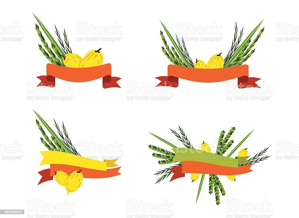 sukkot collection, four symbols of Jewish holiday vector art illustration