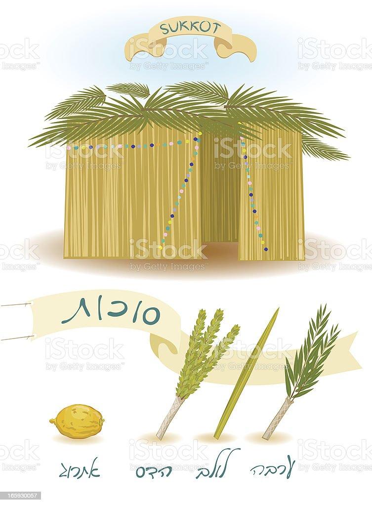 Sukkot, Feast of Tabernacles vector art illustration