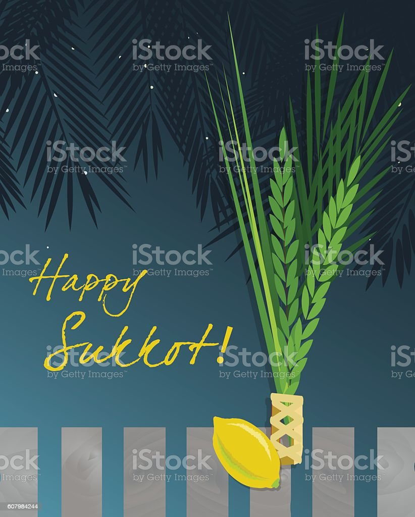 Sukkot Festival greeting card design vector art illustration