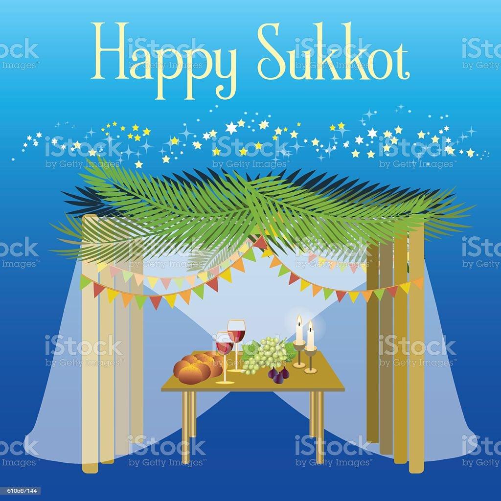 Sukkot Festival greeting card design vector template. vector art illustration