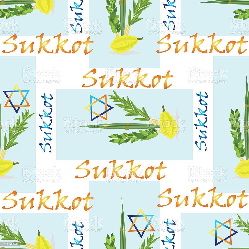 Sukkot - Jewish holiday seamless pattern. vector art illustration