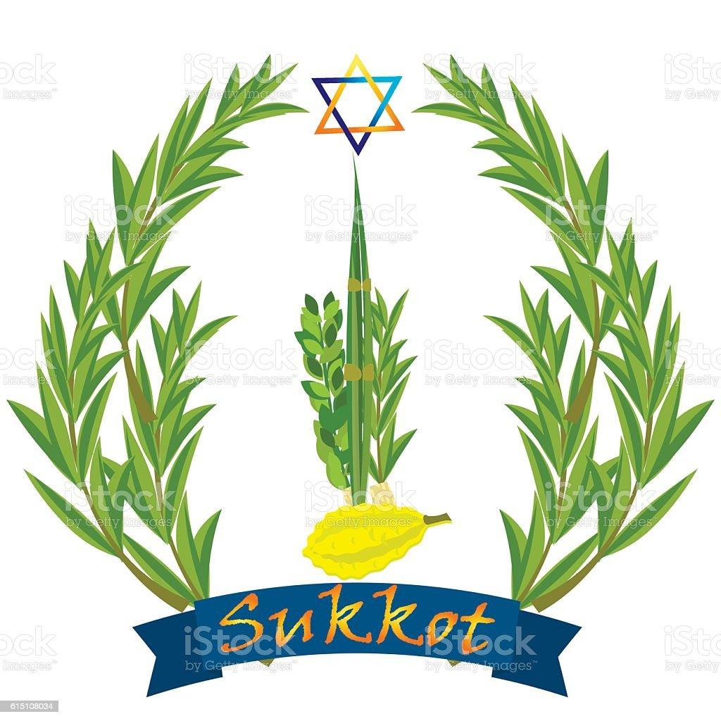 Sukkot - Jewish holiday. vector art illustration
