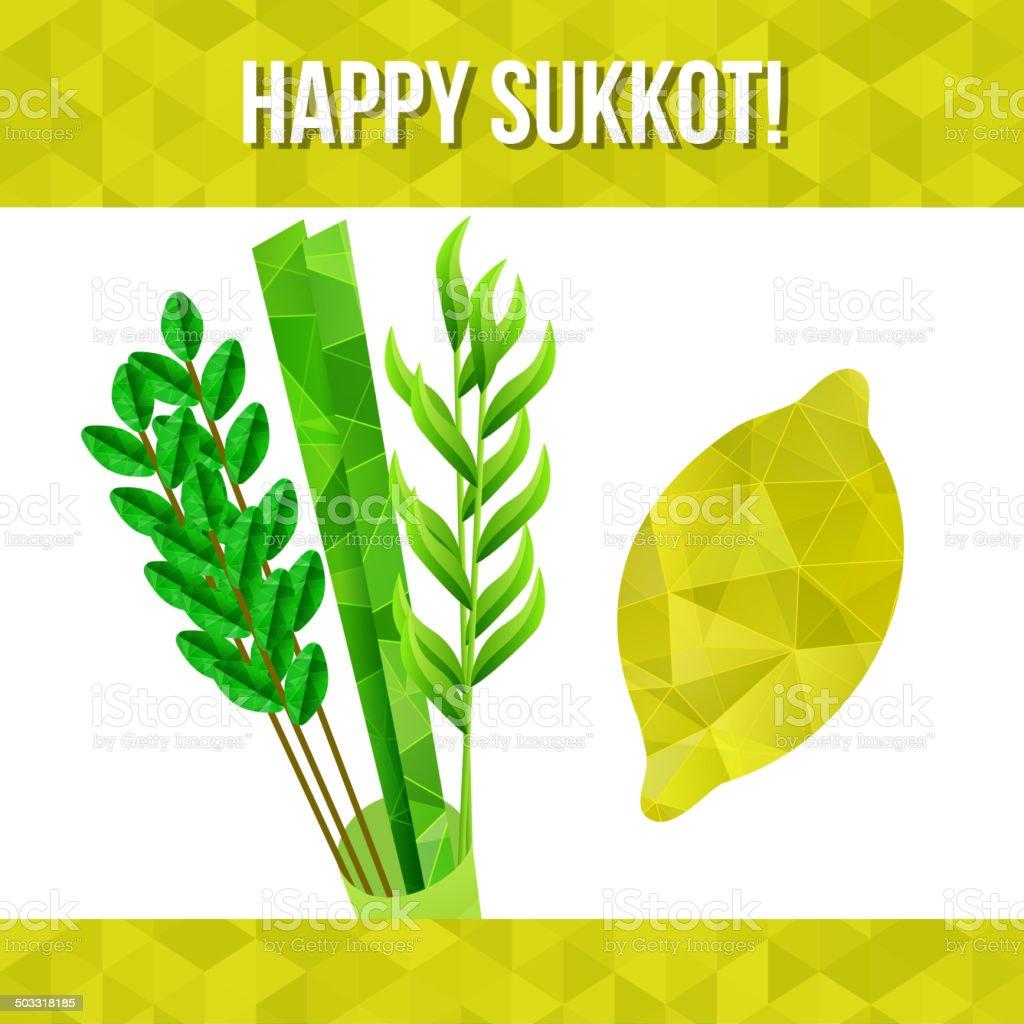 Sukkot symbols vector art illustration