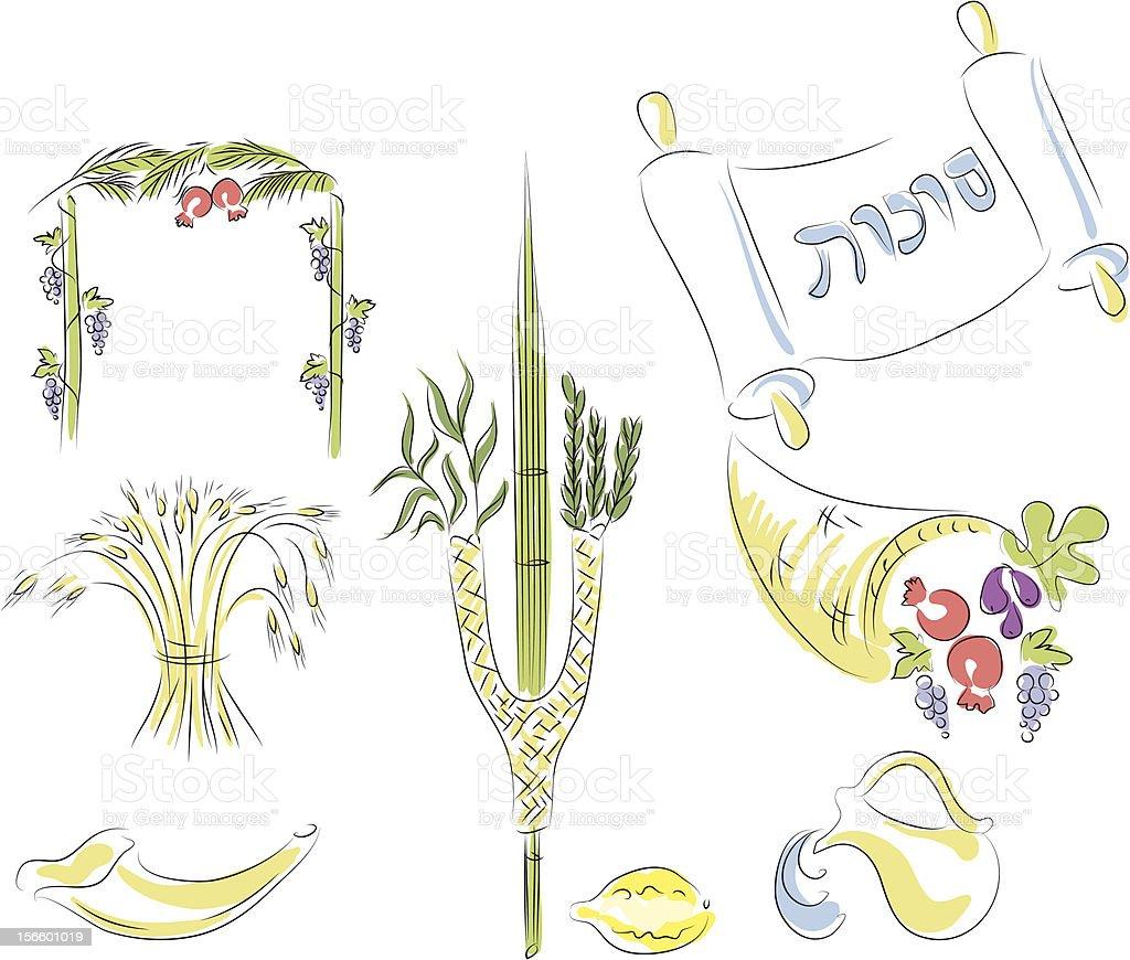 Sukkot vector art illustration