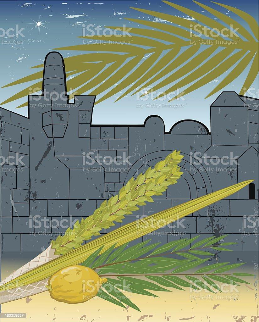 Sukkoth Festival in Jerusalem vector art illustration