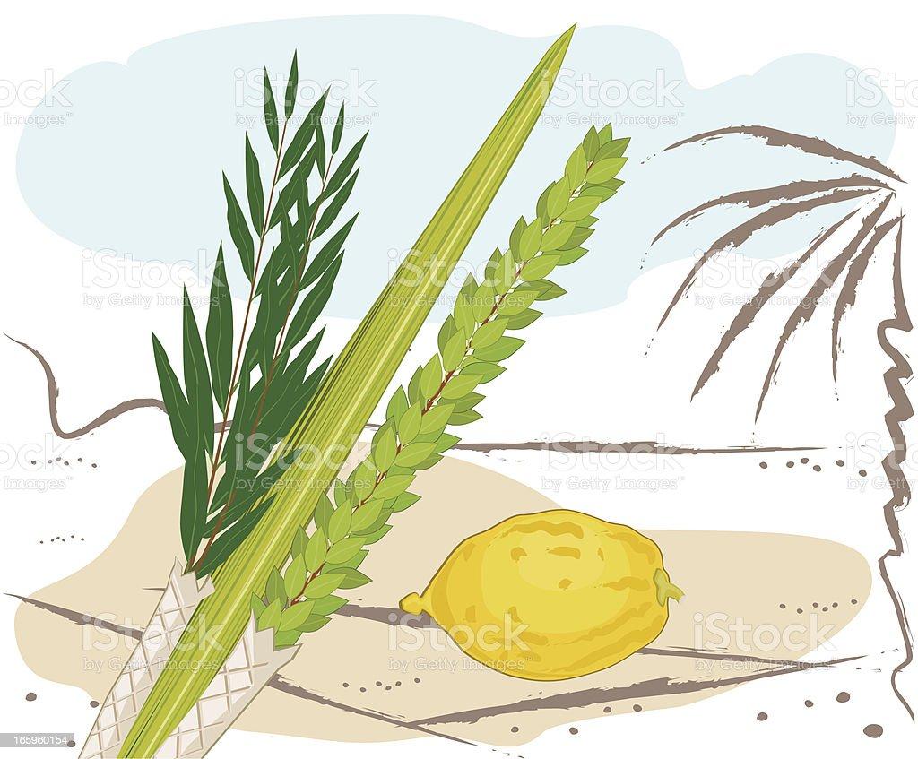 Sukkoth Festival Plants On Middle Eastern Landscape vector art illustration
