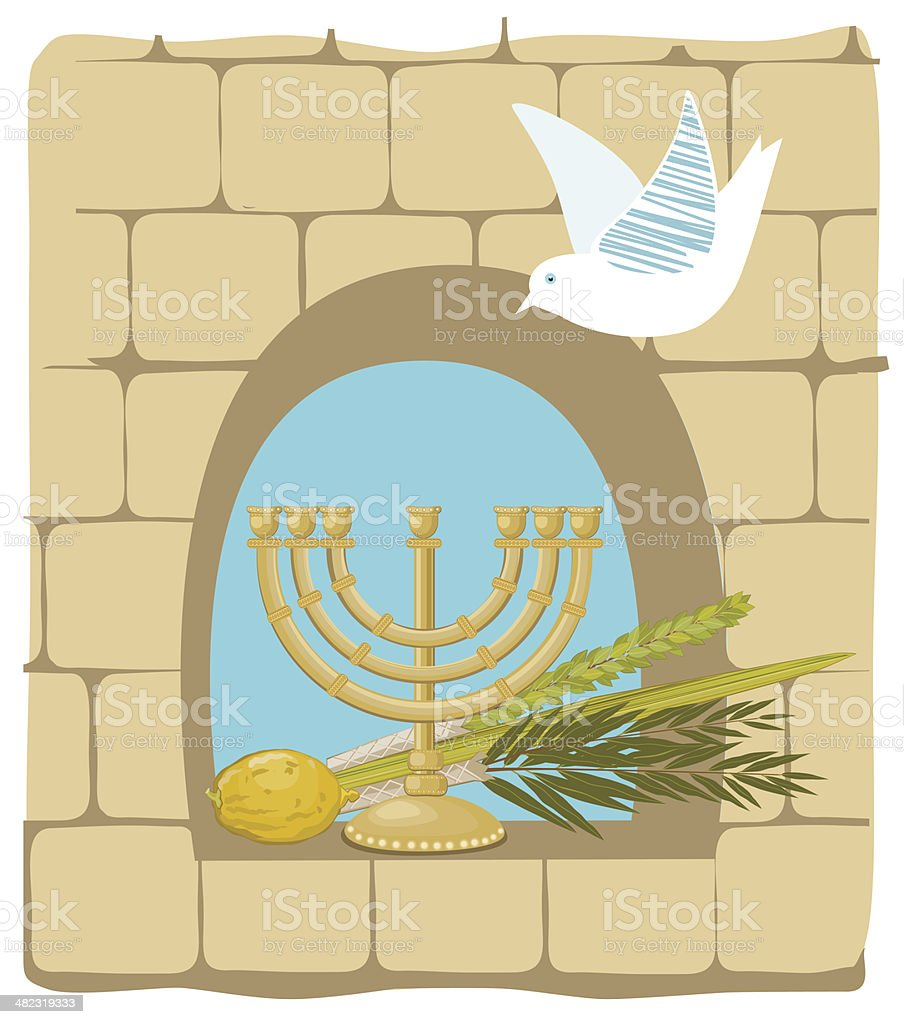 Sukkoth Plants and Golden Menorah On Old Stone Wall Background royalty-free stock vector art