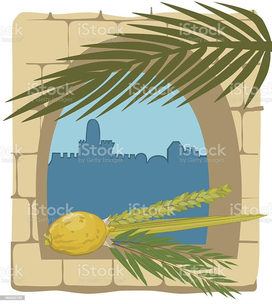 Sukkoth Plants  and Silhouette of Jerusalem vector art illustration