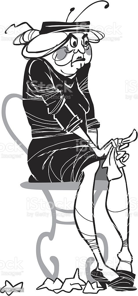 Sulking widow royalty-free stock vector art