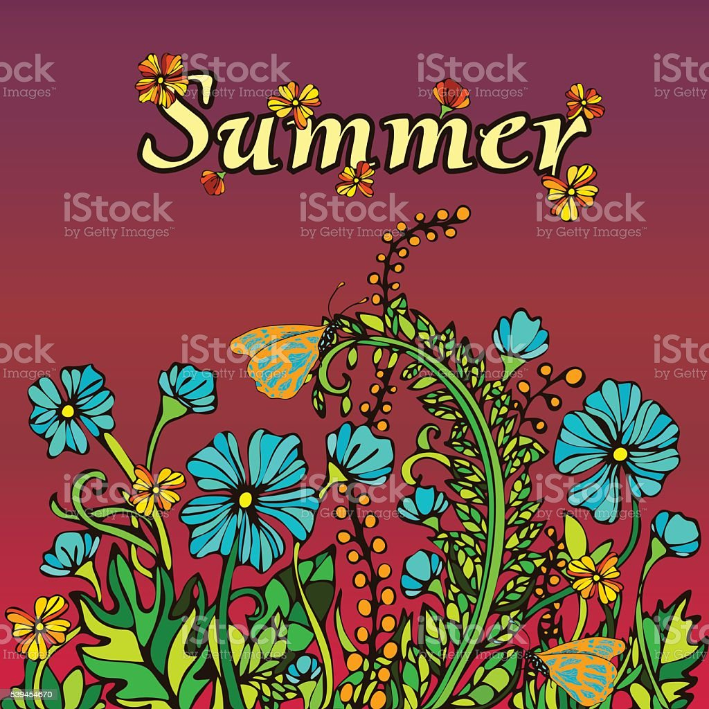 Summer abstract landscape in the style boho chic, hippie, card royalty-free stock vector art