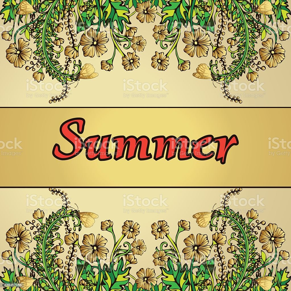 Summer abstract landscape in the style of boho chic, hippie royalty-free stock vector art