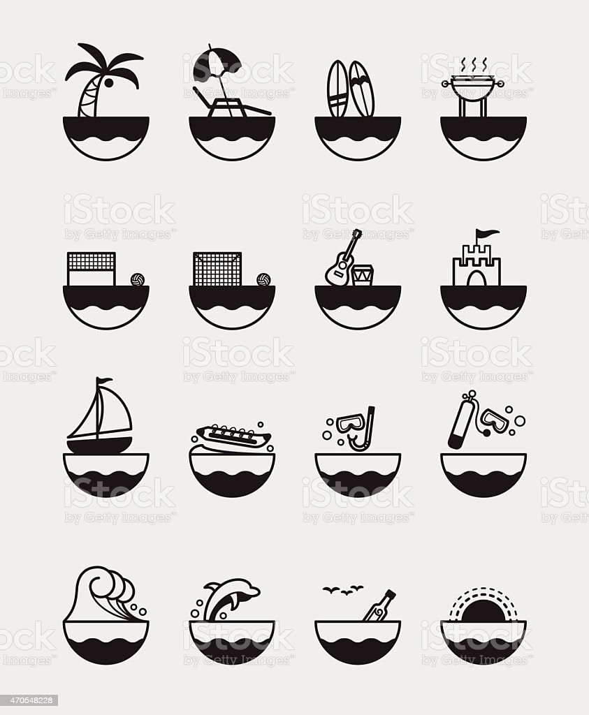 16 Summer activities icons black vector art illustration