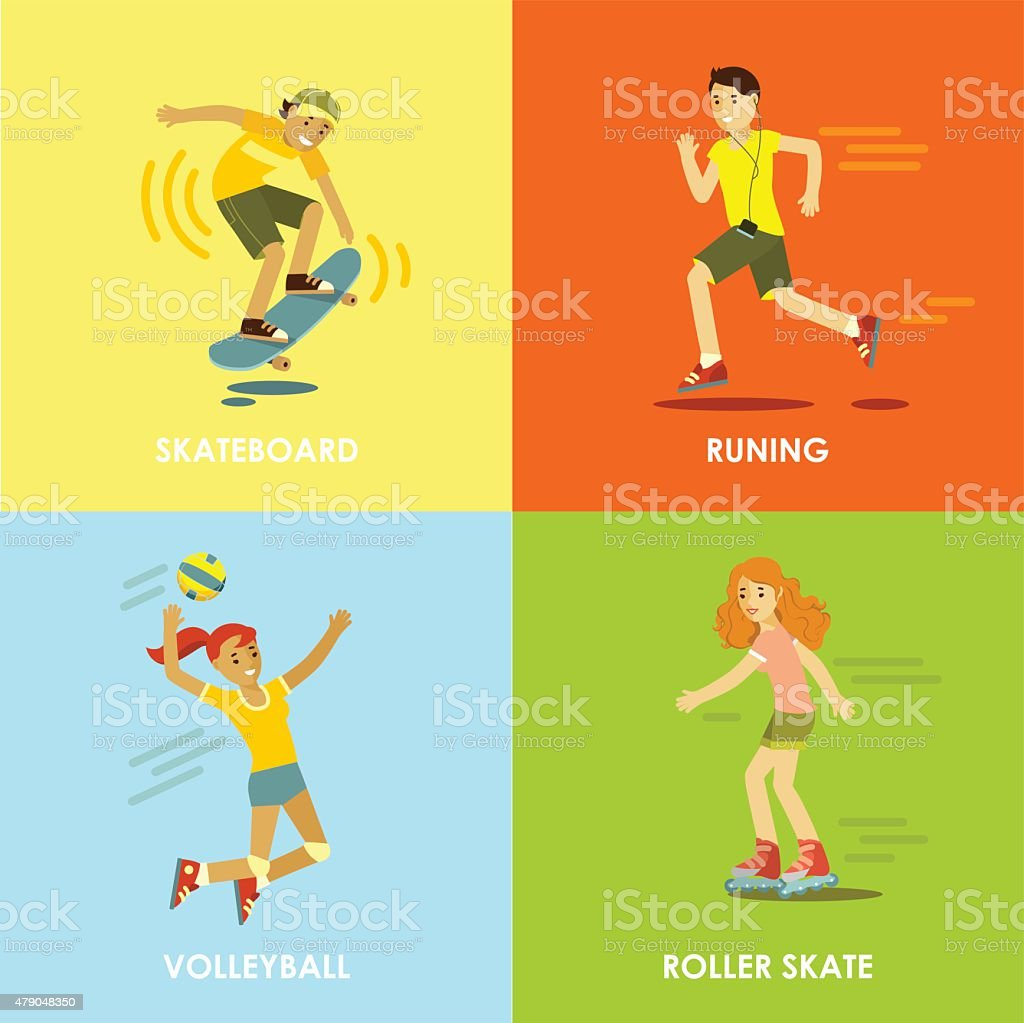 Summer activities sport and fitness concepts vector art illustration