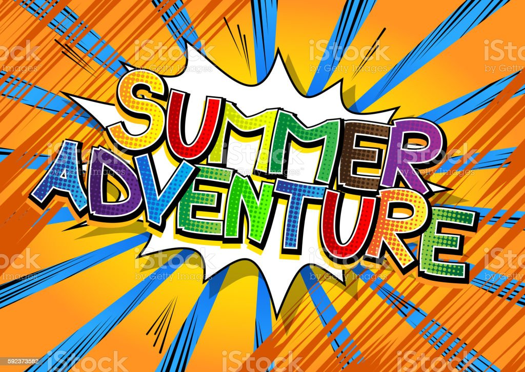 Summer Adventure - Comic book style word. vector art illustration