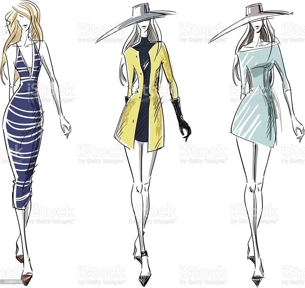 Summer and autumn look, fashion illustration vector art illustration