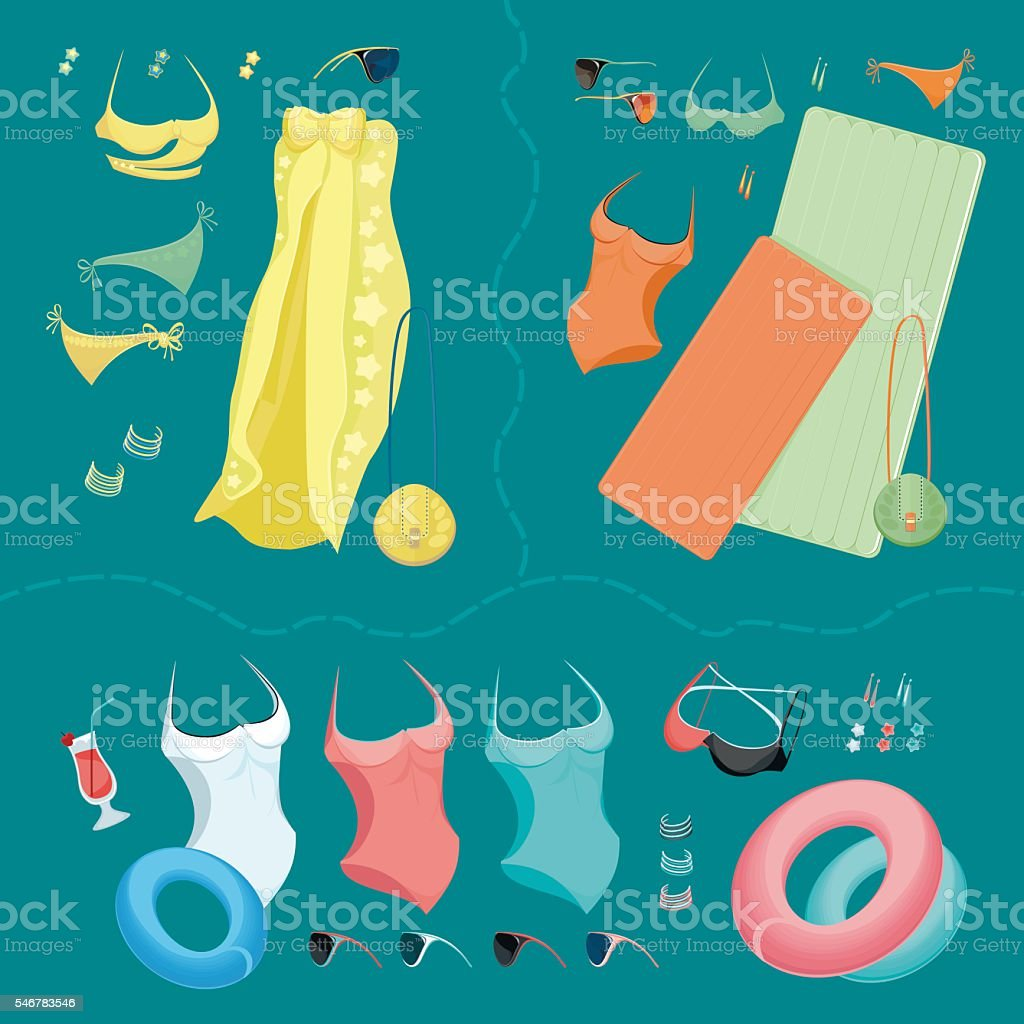 Summer and beach accessories. vector art illustration