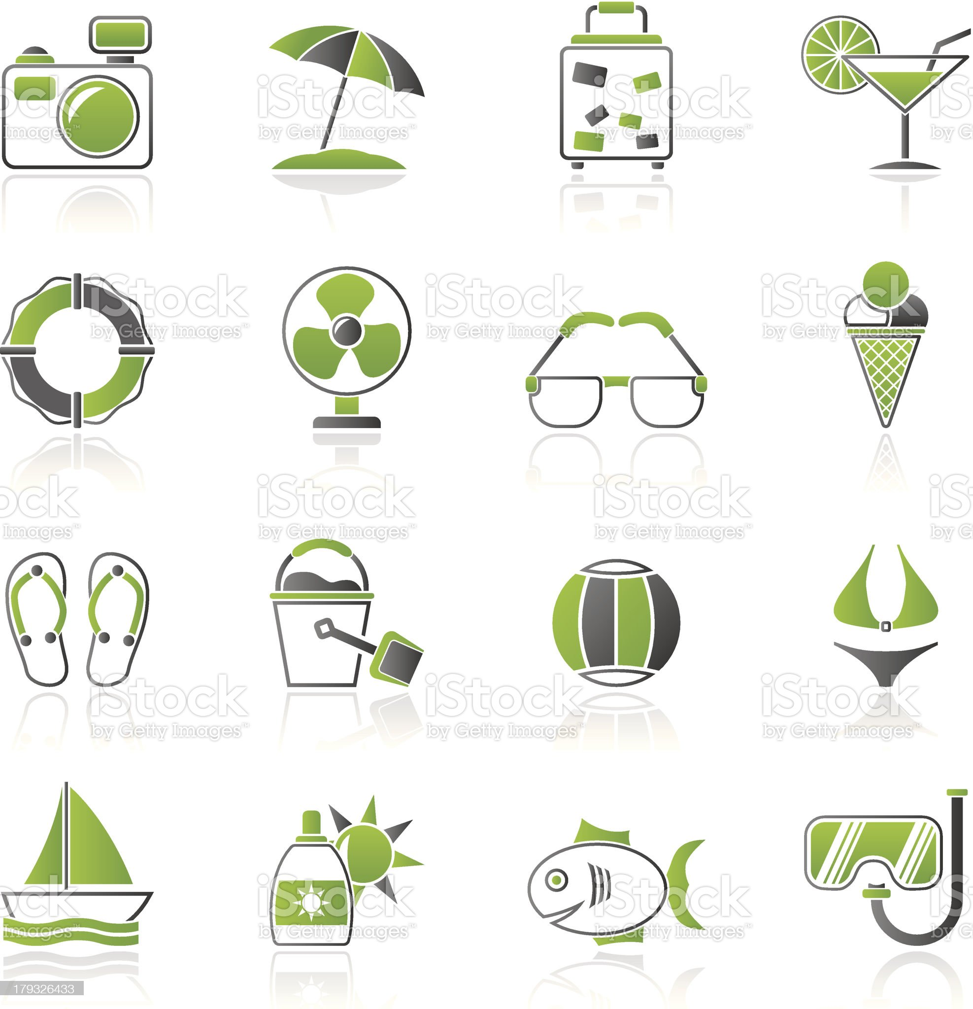 Summer and beach icons royalty-free stock vector art