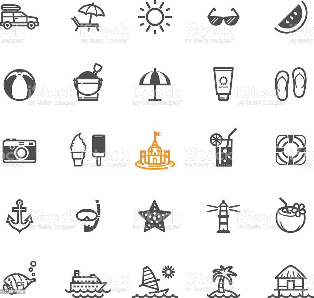 Summer and Beach icons vector art illustration