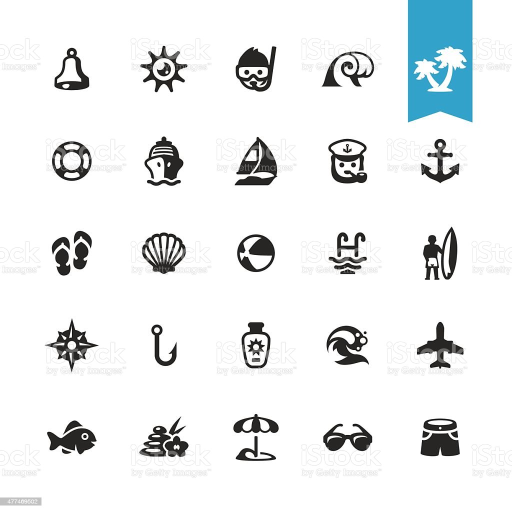 Summer and Beach Vacations related vector icons vector art illustration