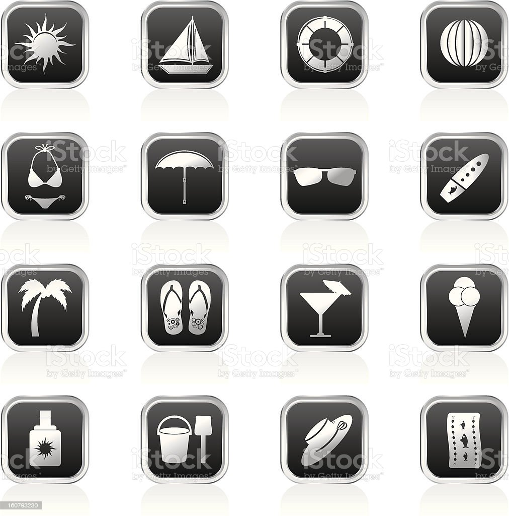 Summer and Holiday Icons royalty-free stock photo