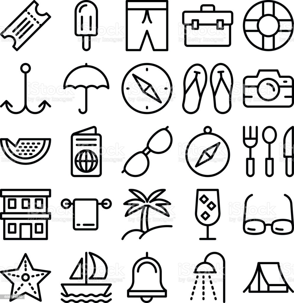 Summer and Travel Vector Icons 5 vector art illustration