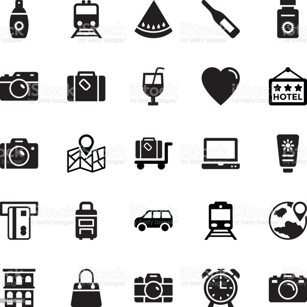 Summer and Travel Vector Icons 6 vector art illustration