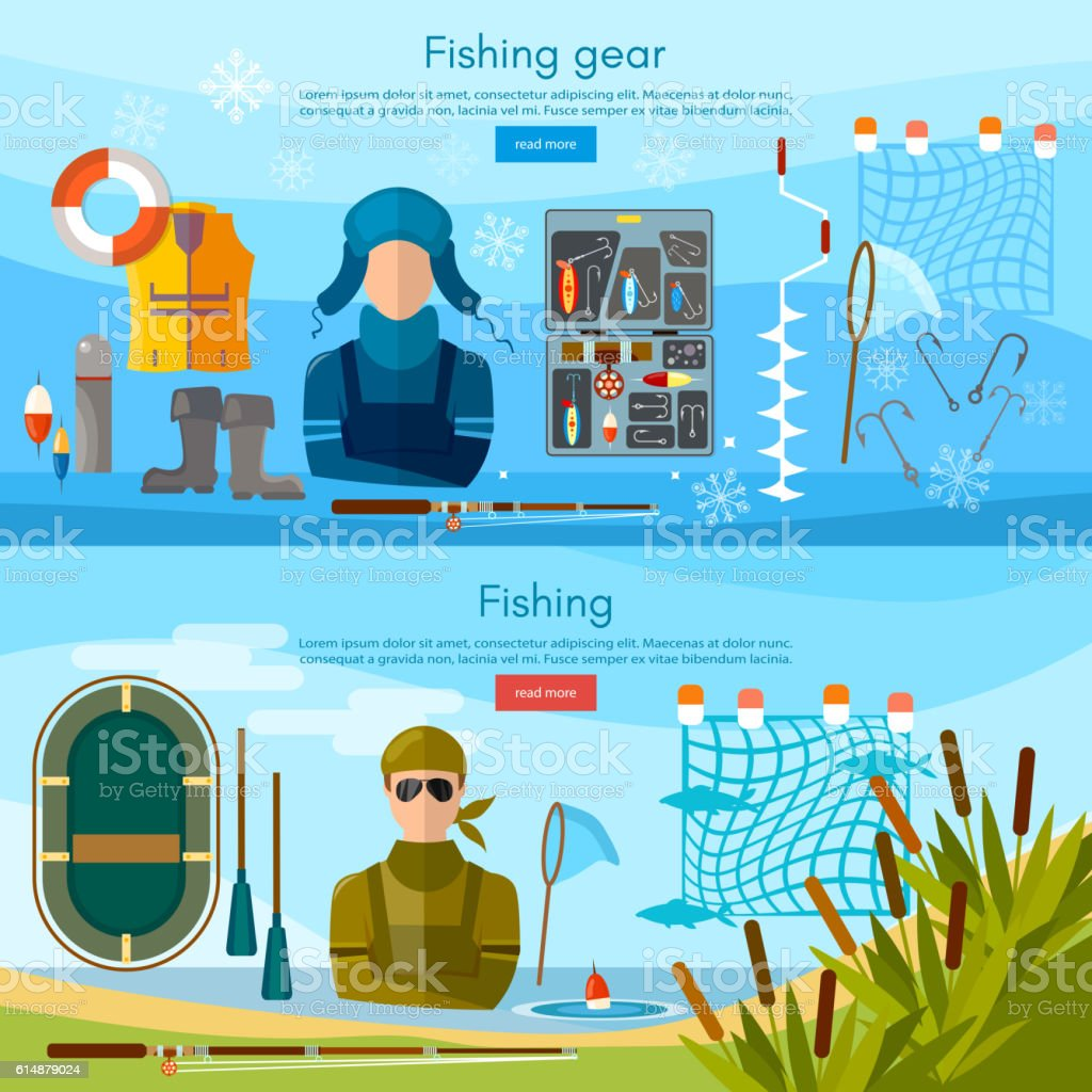 Summer and winter fishing banner, professional fishing vector art illustration