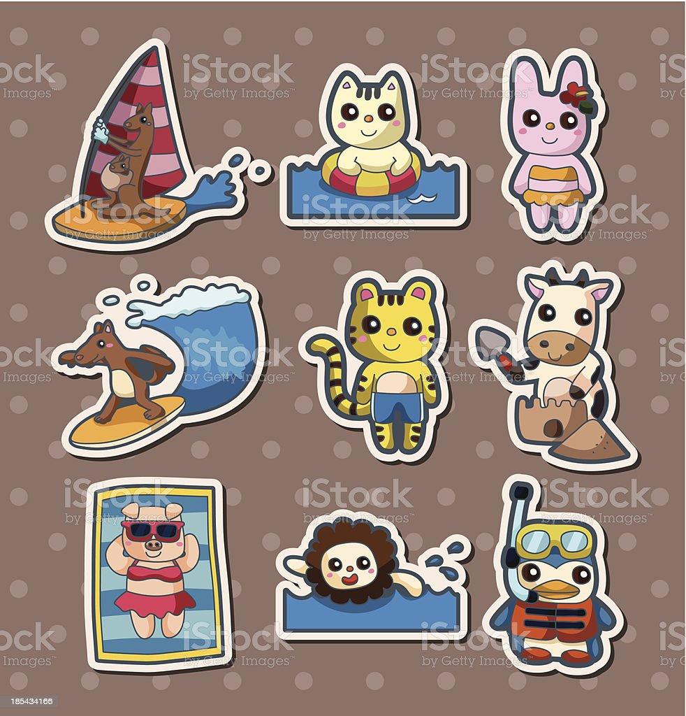 summer animal stickers royalty-free stock vector art
