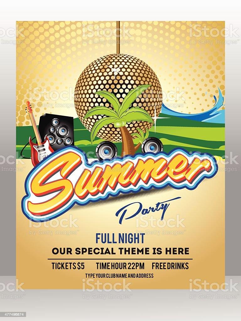 Summer Background Flyer Template Design vector art illustration