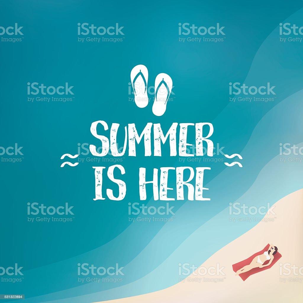 Summer background poster with sexy woman in bikini. Seasonal wallpaper vector art illustration