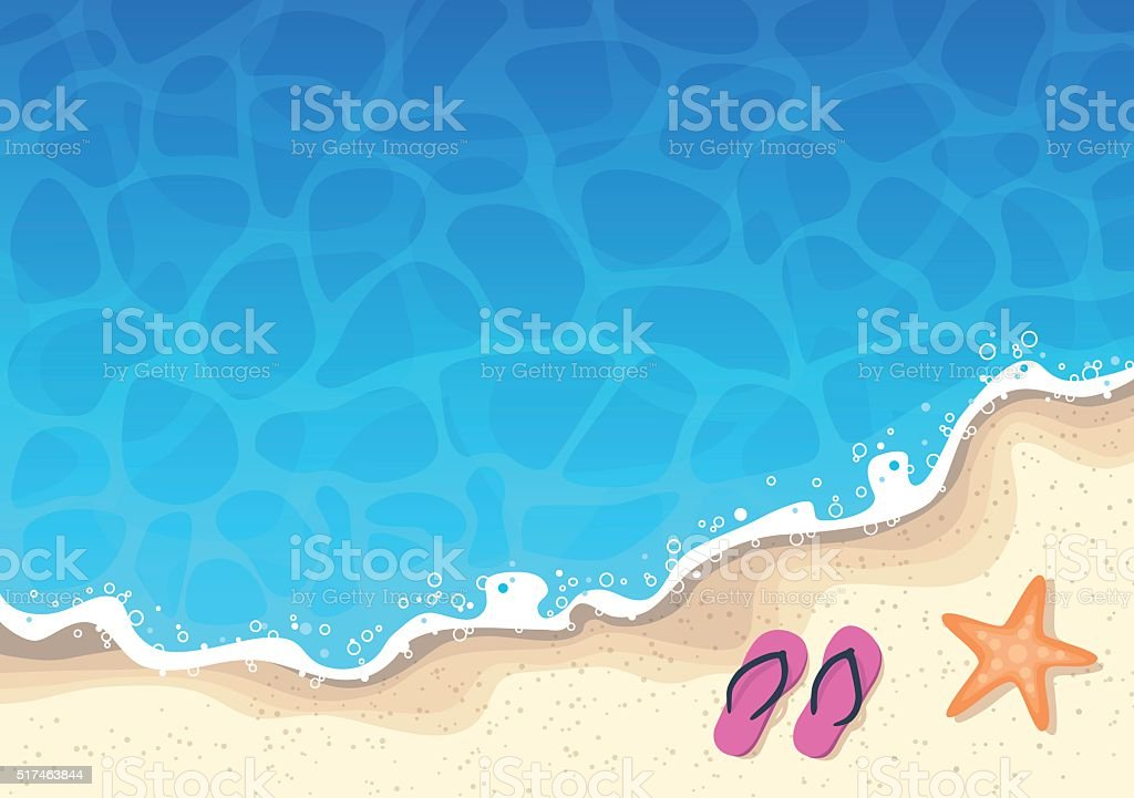 Summer Background - Sea and Sun vector art illustration