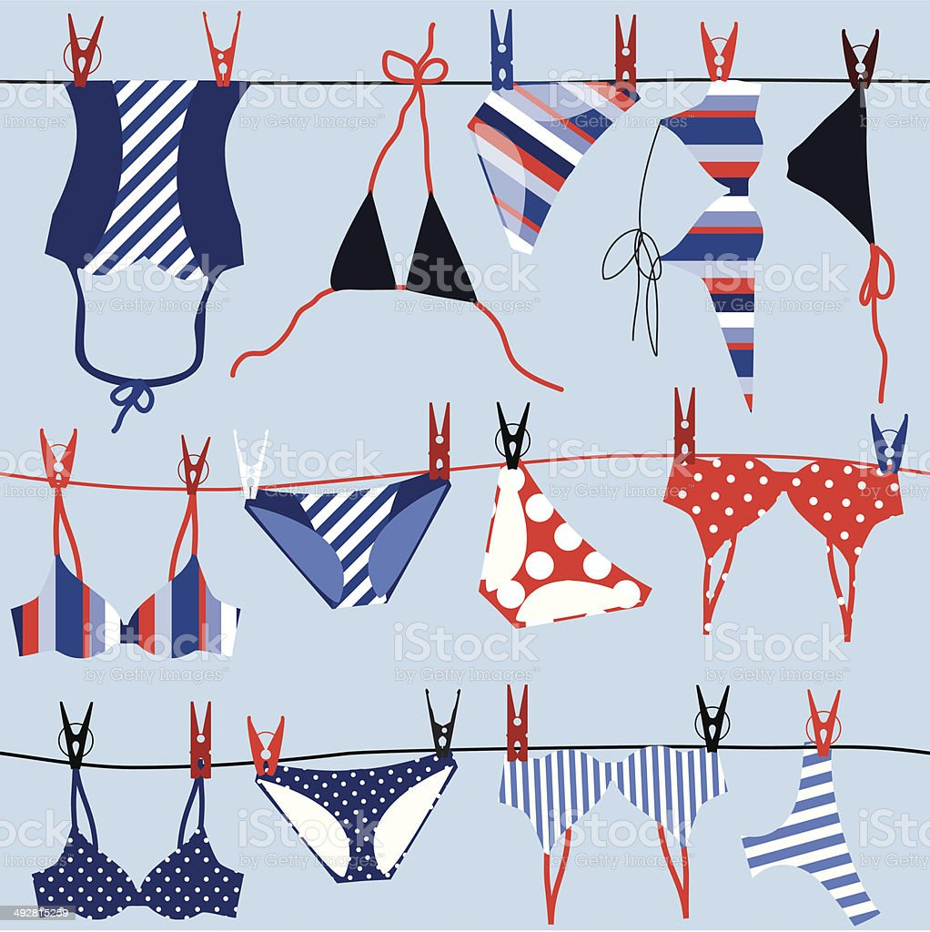 Summer background; swimsuits. vector art illustration