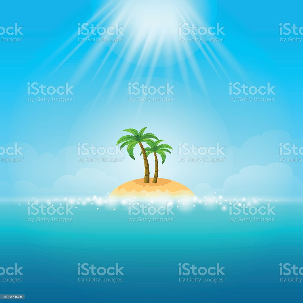 Summer Background - tropical Island vector art illustration