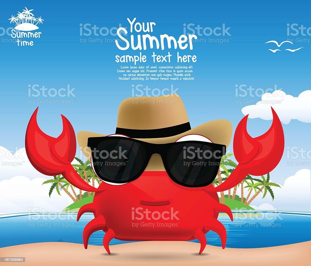 Fond de l'été avec un mignon dessin animé crabe stock vecteur libres de droits libre de droits