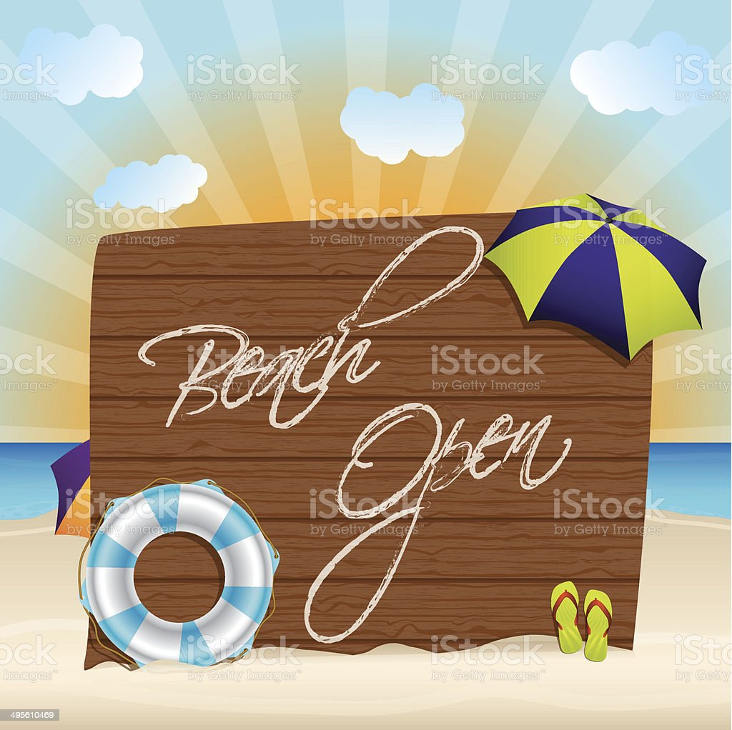 Summer background with beach open sign royalty-free stock vector art