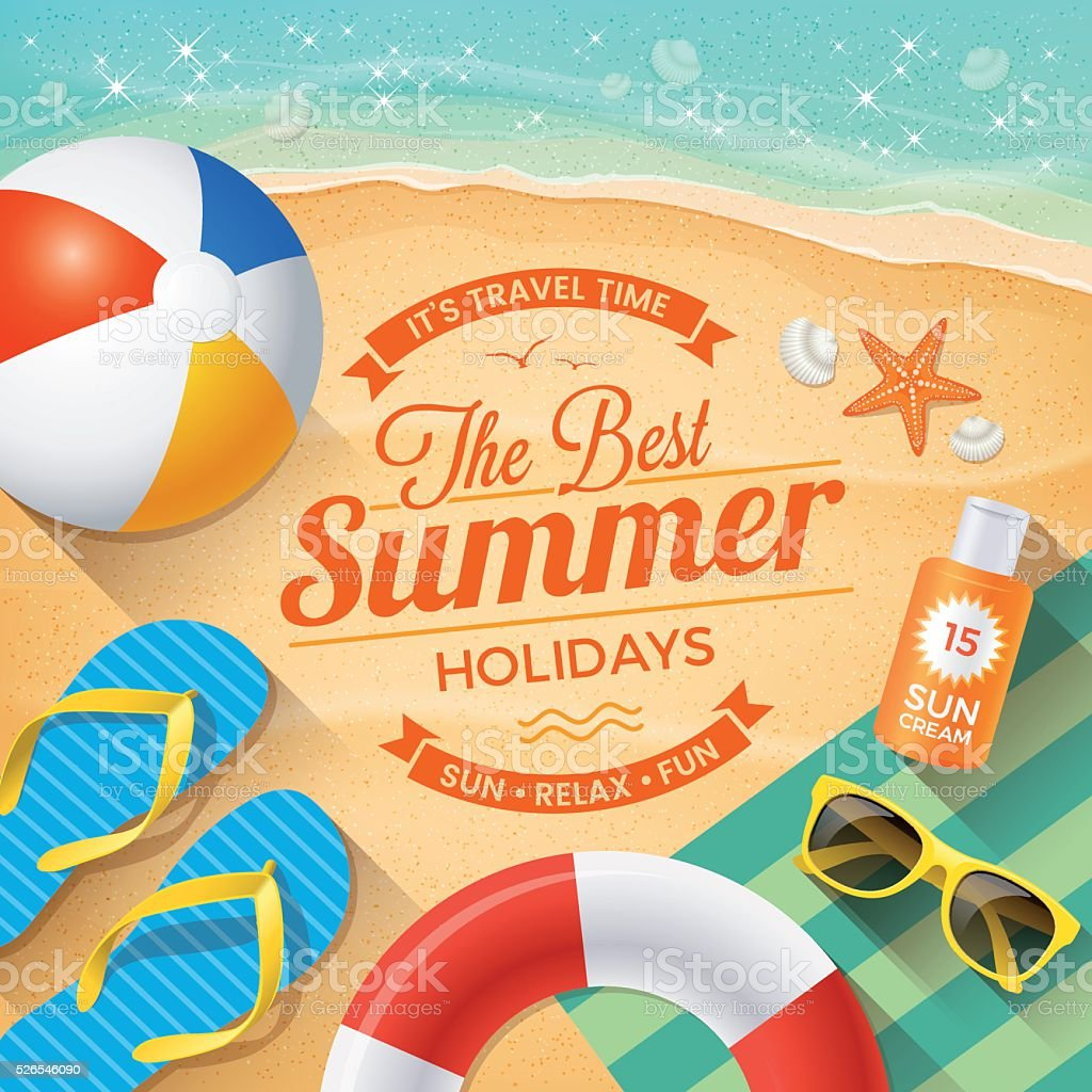Summer Background with beach summer accessories vector art illustration