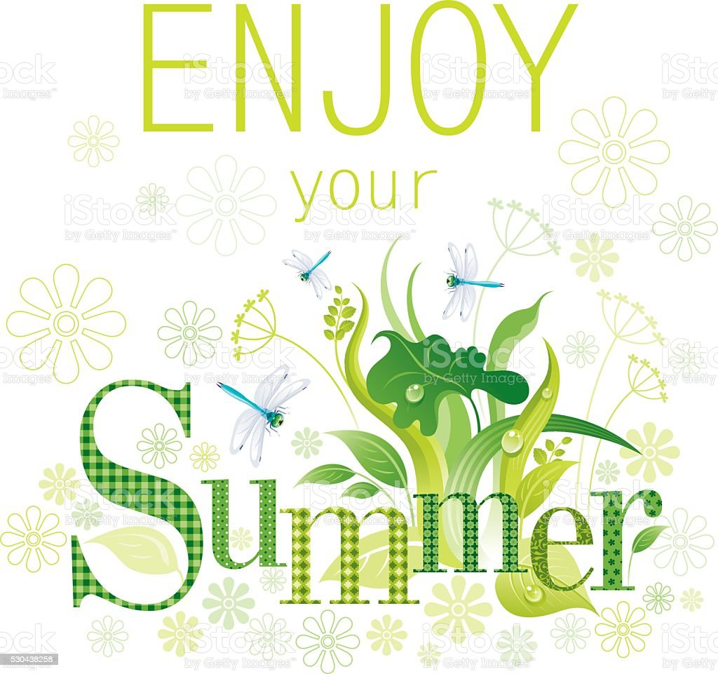 Summer background with copyspace vector art illustration