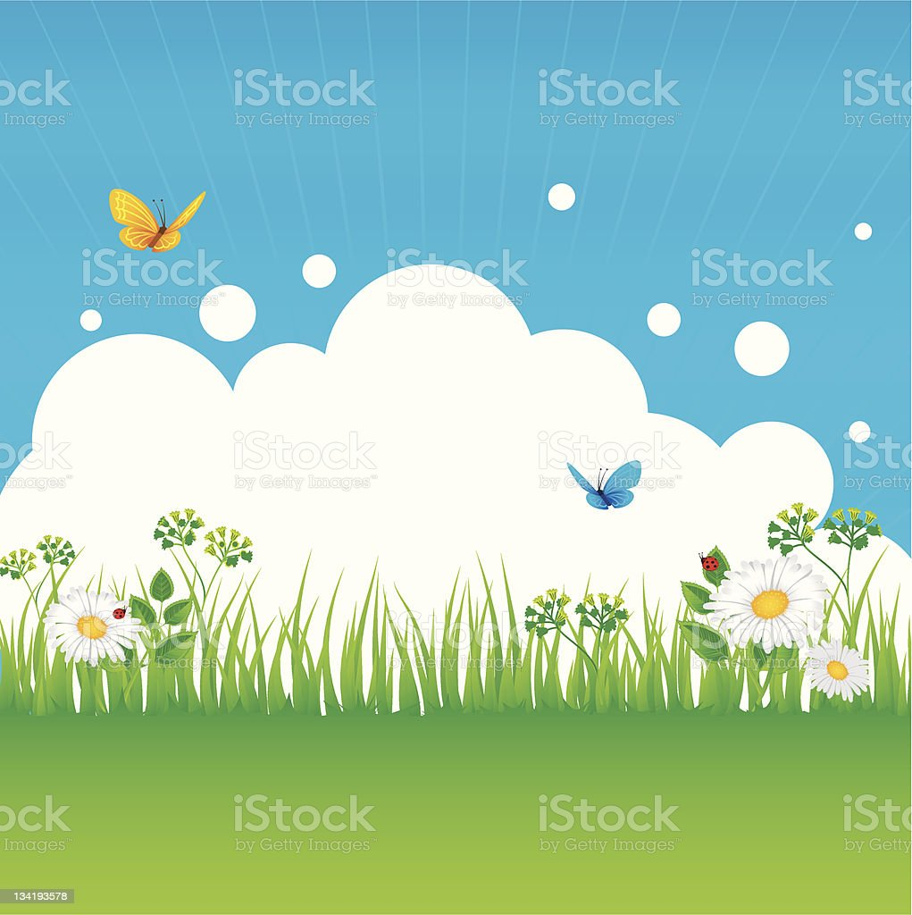 Summer background with grass royalty-free stock vector art