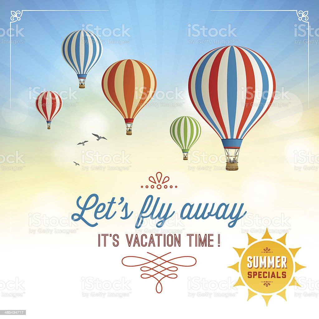 Summer Background with Hot Air Balloons vector art illustration