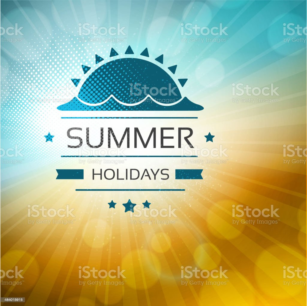 Summer background with label vector art illustration