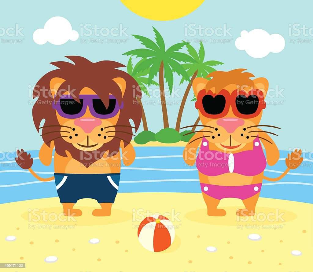 Summer  background with lions vector art illustration