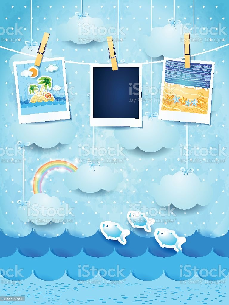 Summer background with photo frames vector art illustration