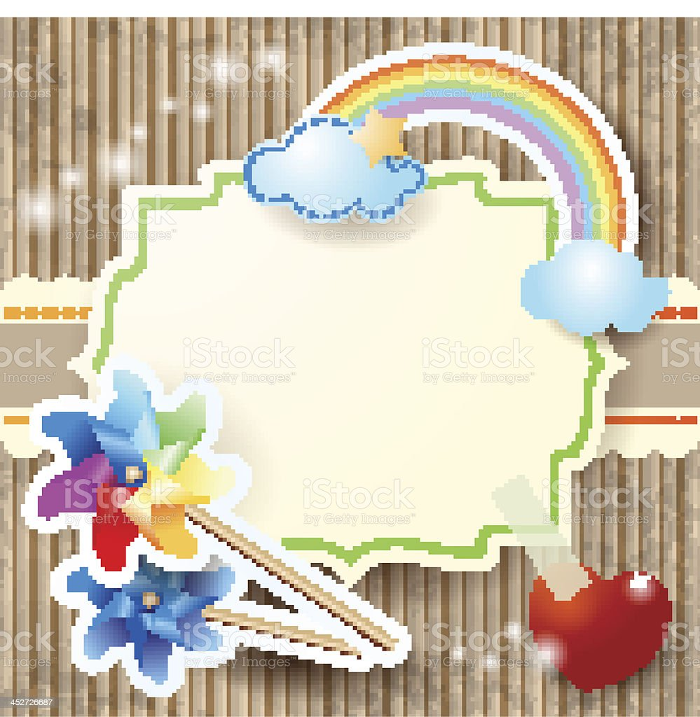 Summer background with rainbow and pinwheels vector art illustration