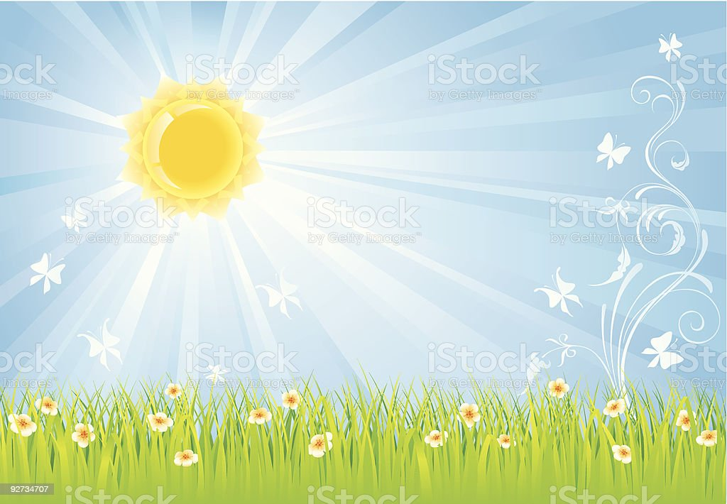 Summer background with rays of sunshine royalty-free stock vector art