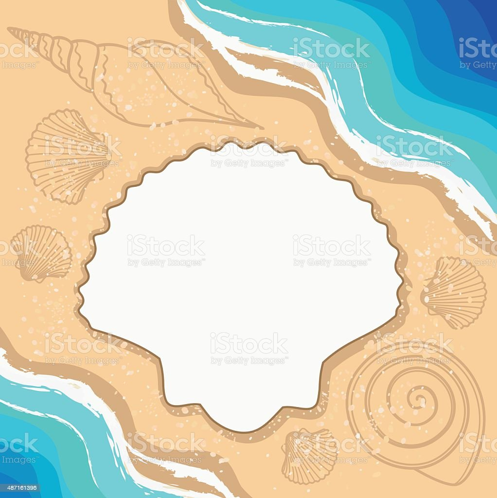 Summer background with shells, waves and frame for your text. vector art illustration