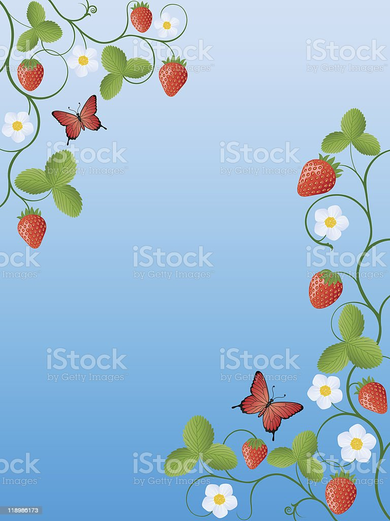 Summer background with strawberry royalty-free stock vector art
