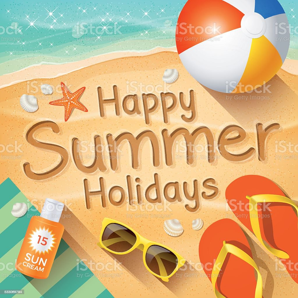 """Summer Background with text on sand """"Happy Summer Holidays"""". vector art illustration"""